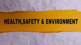 健康、安全和环境概念发短信在简单的被撕毁的纸 免版税库存图片