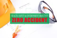 健康、安全&环境宗旨:与黄色的零的事故 库存照片