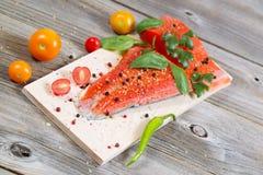 健康三文鱼为烹调准备 库存照片