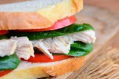 健康三明治想法 鸡肉三明治用新鲜的蕃茄和菠菜在一个棕色木板离开 土气样式 特写镜头 库存照片