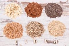 健康产品和成份当来源自然维生素和饮食纤维 免版税库存图片