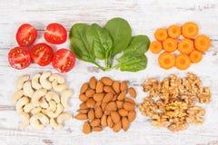 健康产品当来源矿物、维生素B7和纤维,滋补吃概念 库存照片