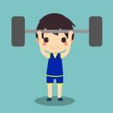 健康人锻炼举重杠铃 皇族释放例证