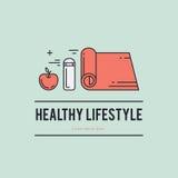 健康健身生活方式lineart概念 免版税库存图片