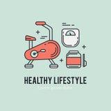 健康健身生活方式lineart概念 图库摄影