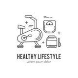 健康健身生活方式lineart概念 库存照片