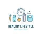 健康健身生活方式lineart概念 库存图片
