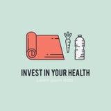 健康健身生活方式lineart概念 免版税库存照片