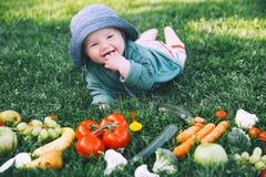 健康儿童和家庭自然营养 免版税图库摄影