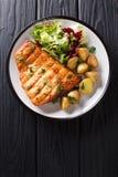 健康午餐烤箭鱼内圆角用油煎的土豆和新鲜的沙拉特写镜头在板材 垂直的顶视图 库存图片