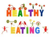 健康吃。小滑稽的人民由菜和果子制成 免版税图库摄影