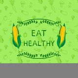 健康吃传染媒介诱导海报设计模板,乱画与菜和框架的手拉的无缝的样式 皇族释放例证