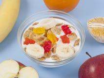 健康吃早餐碗低卡路里muesli用果子 免版税图库摄影