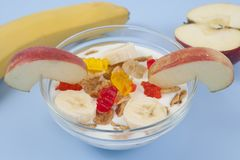 健康吃早餐碗低卡路里muesli用果子 库存图片