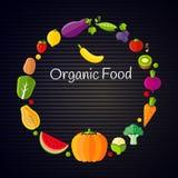 健康吃概念用平的水果和蔬菜 免版税库存照片