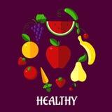 健康吃海报用果子和vegetabkes 免版税库存照片