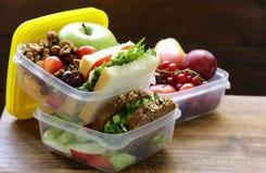 健康吃的午餐盒 图库摄影