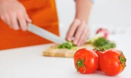 健康吃,素食食物,烹调,节食和人概念 与人切开的三个成熟蕃茄成熟 库存图片