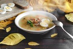 健康和温暖的冬天汤用米、红萝卜、鸡豆、鸡、火腿和煮沸的鸡蛋在土气木桌背景 免版税库存照片
