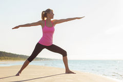 年轻健康和适合的女子实践的瑜伽剪影  免版税库存图片