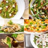 健康和鲜美意大利食物拼贴画 库存照片