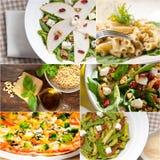 健康和鲜美意大利食物拼贴画 免版税库存图片