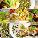 健康和鲜美意大利食物拼贴画 库存图片