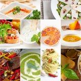健康和鲜美意大利食物拼贴画 图库摄影