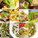 健康和鲜美意大利食物拼贴画 免版税库存照片