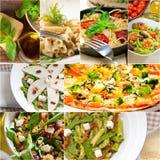 健康和鲜美意大利食物拼贴画 免版税图库摄影