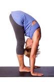 健康女子瑜伽舒展 免版税库存图片