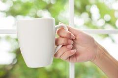 年轻健康妇女享受热的饮料 免版税库存照片