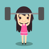健康妇女锻炼举重杠铃 库存例证