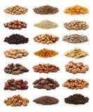 健康干果子、谷物、种子和坚果的汇集 免版税库存照片