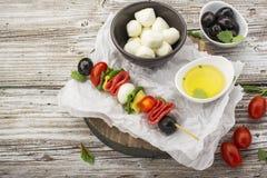 健康快餐:在一顿野餐用蕃茄,无盐干酪,蒜味咸腊肠,黑橄榄,蓬蒿,意大利式饺子的味道好的kebabs 免版税库存图片