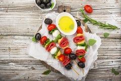 健康快餐:在一顿野餐用蕃茄,无盐干酪,蒜味咸腊肠,黑橄榄,蓬蒿,意大利式饺子的味道好的kebabs 库存图片