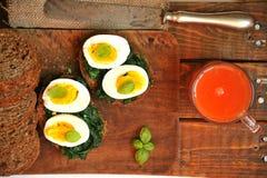 健康意大利早餐用血橙汁和三明治 库存图片