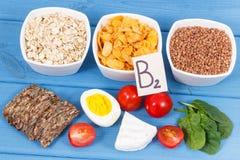 健康成份当来源矿物、维生素B2和饮食纤维,滋补吃概念 免版税库存图片