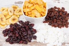 健康成份当来源维生素、碳水化合物和饮食纤维 免版税库存图片