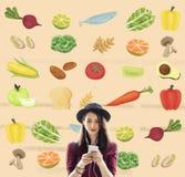 健康成份未加工的食物营养概念 免版税库存照片
