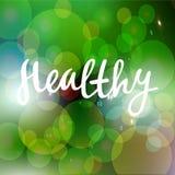 健康手拉的商标、标签与绿色和亮光背景 导航例证食物的eps 10并且喝 库存照片