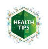 健康技巧花卉植物样式绿色六角形按钮 向量例证