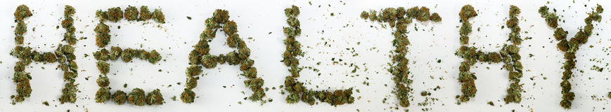 健康拼写用大麻 免版税库存照片