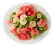 健康新鲜水果沙拉板材  图库摄影