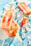 健康新鲜水果红色瓜结冰的冰棍儿 免版税库存图片