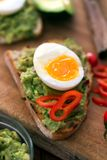 健康早餐三明治准备了与鳄梨调味酱捣碎的鳄梨酱,胡椒并且煮沸了鸡鸡蛋 库存照片