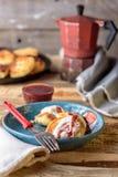 健康早餐乳酪蛋糕 库存照片