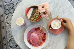 健康早餐在旅馆里,巴厘岛 库存图片