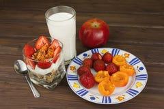 健康早餐用果子 自创酸奶、燕麦粥用草莓,杏子和巧克力 免版税图库摄影