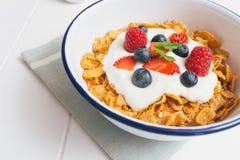 健康早餐用谷物和莓果在e 免版税库存图片